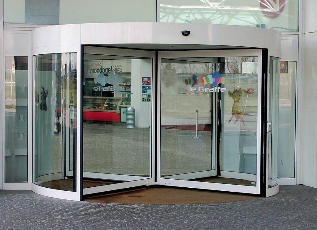 انواع درب اتوماتيك شیشه ای گردان   درب برقی شیشه ای چرخشی
