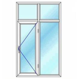 پنجره دو لنگه با کتیبه یک بازشوی لولایی تک حالته