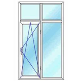 پنجره دو لنگه با کتیبه یک بازشوی لولایی دو حالته