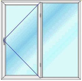 پنجره دو لنگه یک بازشو لولایی