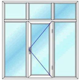 پنجره سه لنگه با کتیبه یک بازشوی لولایی تک حالته