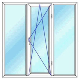 پنجره سه لنگه بدون کتیبه یک بازشوی لولایی دو حالته