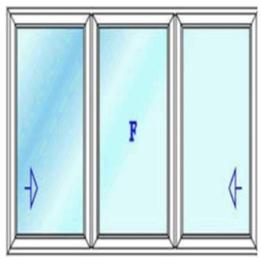 پنجره سه لت با دو بازشوی کشویی