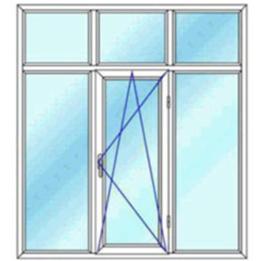پنجره سه لنگه با کتیبه دو بازشوی لولایی دو حالته