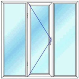 پنجره سه لنگه یک بازشو لولایی