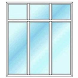 پنجره سه لنگه ثابت بدون بازشو با کتیبه