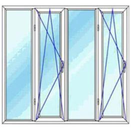 پنجره چهار لنگه بدون کتیبه دو بازشوی لولایی دو حالته