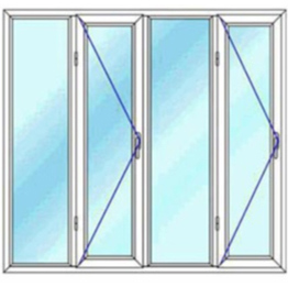 پنجره چهار لنگه یک بازشو لولایی