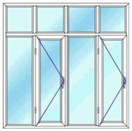 پنجره چهار لنگه با کتیبه دو بازشوی لولایی